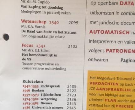 Foto.Inhoudsopgave - Te weinig Burgerlijk recht in het Nederlands Juristenblad - van Swaaij Cassastie & Consultancy - cassatieadvocaat - cassatie advocaat