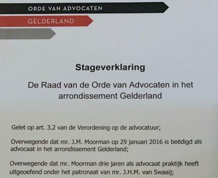 Foto.Stageverklaring.groot - Uitreiking stageverklaring - van Swaaij Cassastie & Consultancy - cassatieadvocaat - cassatie advocaat