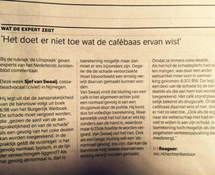 foto.NRCexpert - NJB-expert Sjef van Swaaij geeft  voor NRC Handelsblad commentaar ( 'De uitspraak'  van Folkert Jensma) - van Swaaij Cassastie & Consultancy - cassatieadvocaat - cassatie advocaat